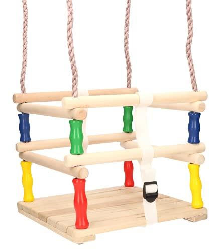 KOTARBAU® Trägunga 30 x 30 x 25 cm trädgårdsgunga för upphängning med fasta rep