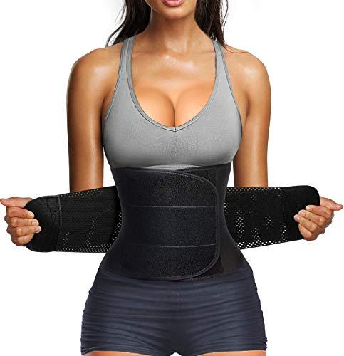 Nebility Women Waist Trainer Belt Tummy Control Waist Cincher Trimmer Sauna Sweat Sport Girdle Slim Belly Band (XL, Black)