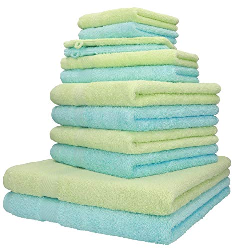 Betz Juego de 12 Toallas Palermo 100% algodón de Color Turquesa y Verde