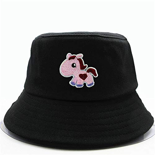 Bucket Hat Embroidery Bucket Hat Fisherman Hat Outdoor Travel Hat Sun Cap Hats For Men And Women-Black
