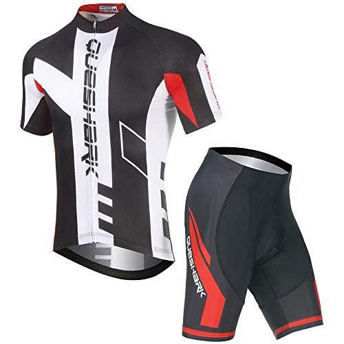 Queshark Herren Radtrikot Set Fahrrad Kurzarm Set Schnelltrocknend Atmungsaktives Shirt + 5D Gel Cushion Shorts Gepolsterte Hose