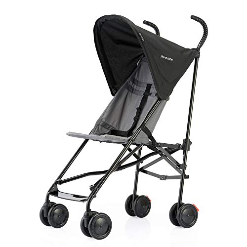Pamo Babe Lightweight Baby Stroller Umbrella Stroller with Canopy(Black)
