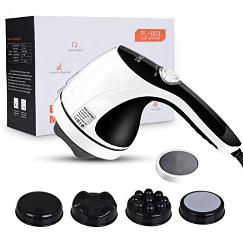 IKEEPI Elektrisches Massagegerät Rücken Shiatsu Massagegeräte Cellulite Massage für Bodyshaping mit Heizfunktion mit 4 Alternativen Massageköpfen, Fette Massage Arm Kompakt (Einstecken)