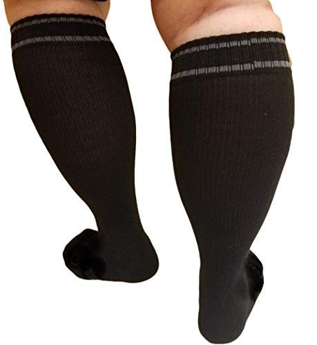 Compression Socks Woman XWide Calf - Firm Gradient Support, Ankle and Arch Support. Knee High | Plus Size Premium Cotton Hosiery with padded soles | Black, Extra Wide Size