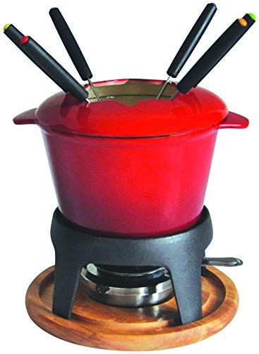 Baumalu 385050 Fondue-Set, Gusseisen, roter Farbverlauf, mit Holzplatte