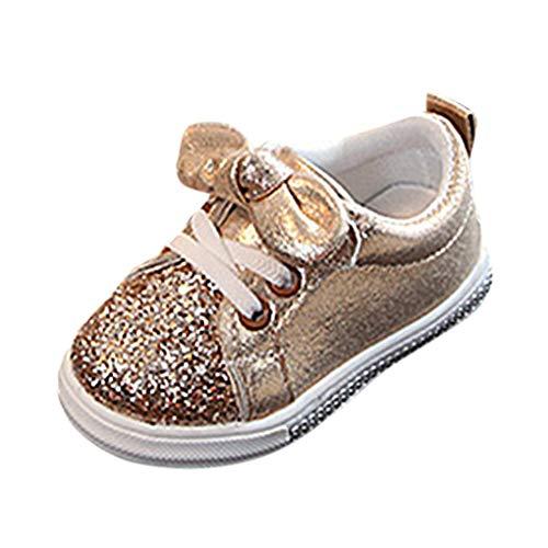 Unisex Baby Sneaker,Dorical Kinder Sommer Pailletten Bowknot Sportschuhe Jungen Mädchen Freizeitschuhe Sneaker Lauflernschuhe Krabbelschuhe mit Weiche Sohle für 1-6 Jahre(Gold,23 EU)