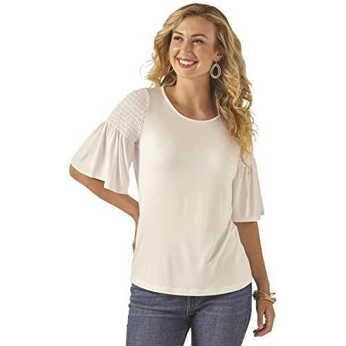 Wrangler Women's 3/4 Sleeves Smocked Shoulder Knit Top, White, Medium