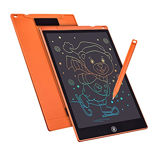 LCD Writing Tablet Drawing Board 12 Inch Colorful Girls Toys Christmas Birthday Gift for 3 4 5 6 7 Year Old Girls Erasable Drawing Tablet Doodle Board Toddler Learning Toys for Girls Age 3+ (Orange)