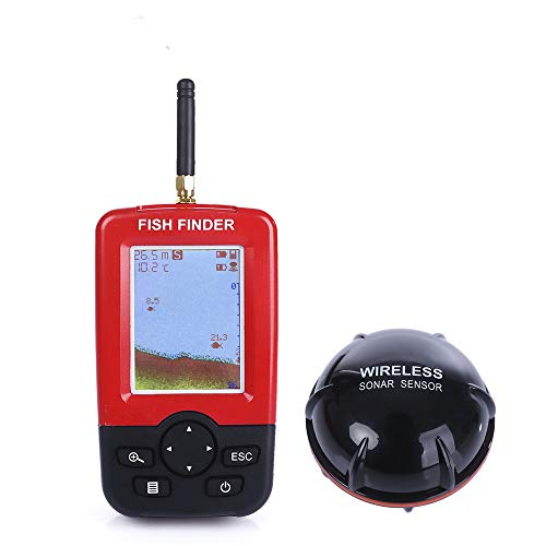 Portable Fish Finder, NACATIN Wireless Fishfinder with Sonar Sensor Transducer and LCD Display