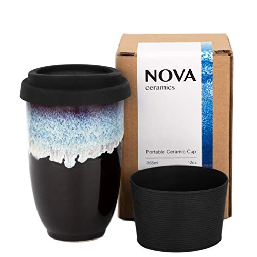 Nova Ceramics Reusable Coffee Cup, Ceramic Travel Mug with Lid and Sleeve, Portable Coffee Cup, Unique to Go Mug, Lead Free, BPA free, Black with Running Blue Glaze, 12oz