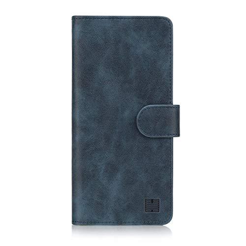 32nd Essential Series - PU Leder Mappen Hülle Flip Hülle Cover für Huawei Y6 (2018), Ledertasche hüllen mit Magnetverschluss & Kartensteckplatz - Marineblau