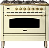 Ilve UPN90FDMPALP 36 Nostalgie Series Dual Fuel Liquid Propane Range with 5 Sealed Brass Burners 3 cu. ft. Capacity True Convection Oven with Brass Trim in Antique White