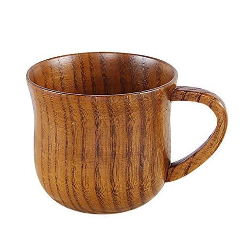 Viner Kleine handgemaakte natuurlijke massief houten theekop Houten wijn Koffie Water Drinkbeker Cup, C