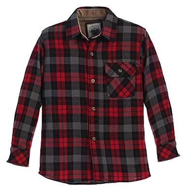 Gioberti Boy's Flannel Shirt, Black/Red/Blue Hightlight, Size 16