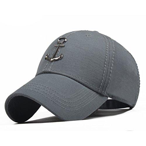 CACUSS Herren Segeln Stil Baumwolle Strukturierte Baseballkappe Einstellbarer Schnallenverschluss Sport-Golfmütze einheitsgröße b0110_Grau