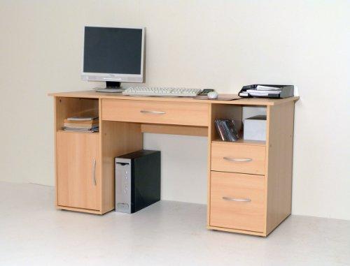 Dreams4Home Schreibtisch Pro PC Tisch Büromöbel Büroeinrichtung Computertisch buche