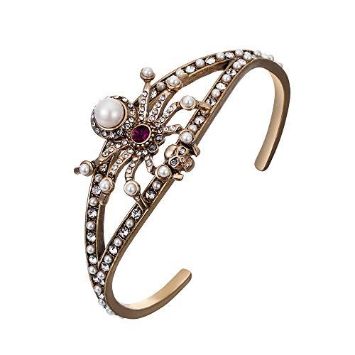 EVER FAITH Damen Kristall Simulierte Perle Vintage Spinne Schädel Offene Manschette Armreif Antike Gold-Ton