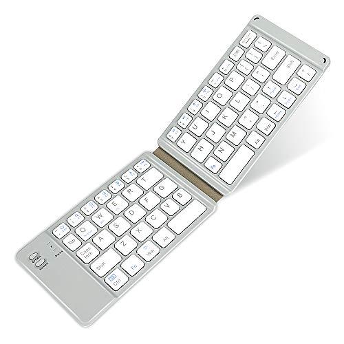 Teclado Bluetooth plegable, compacto recargable por USB, min