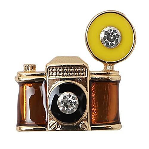 ZXHStore Retro kamera z broszką z broszką lampy błyskowej,vintage aparat fotograhy emalia lapel płaszcz żakiet odznaka dla fotografii kochanek