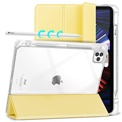 Gahwa Funda para iPad Pro 11 Pulgadas 2021/2020/2018, Ultra Delgada Case Cover con Soporte Incorporado de Pencil, Carcasa con Función de Auto-Sueño/Estela, Reverso Transparente - Amarillo