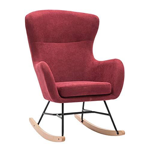 Tollmllom Mecedora Rocker Silla de salón de sillón reclinable Silla de Descanso con un cómodo Asiento Acolchado cojín extraíble sillón reclinable Silla Relajante (Color : Rojo, Size : 110x85x54cm)