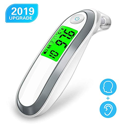 Upgrade Ear and Forehead Thermometer, Digital Medical Infrared Thermometer with 3 Fever Indicators, Fahrenheit & Celsius Convertible, Instant Accurate Reading, Suitable for Infant Baby Kids and Adults