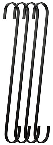 RuiLing 4-Pack 16 Inch Black Chrome Finish Steel Hanging Flat Hooks - S Shaped Hook Heavy-Duty S Hooks,for Kitchenware,Utensils,Plants, Towels,Gardening Tools,Clothes