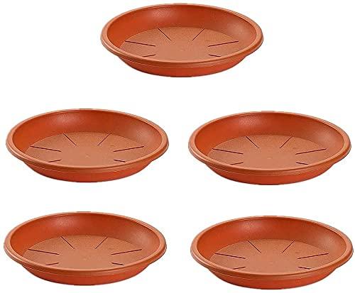 5 Platos de plástico para macetas Mediterránea. Bandejas, platillos, bajoplatos Redondos para tiestos de Interior, Exterior, jardín, terraza o balcón (Marrón) (diametro 26_cm)