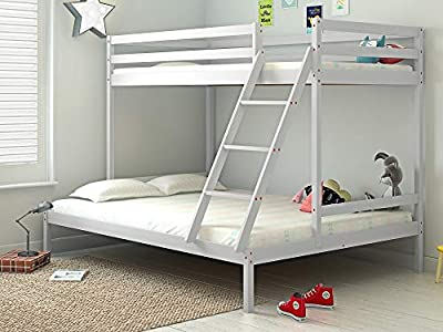 Kid's Bunk Bed 3FT Single 4FT6 Double Wooden Pine Frame Triple Sleeper Bed for Children's Bedroom Furniture in White