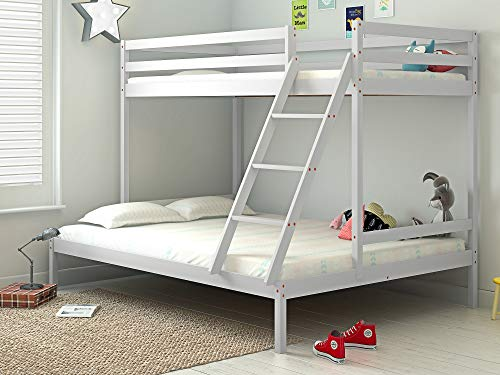 Panana Bunk Bed Frame with Guard Rail, Wooden Triple Bed 3FT single, 4FT6 double (White)