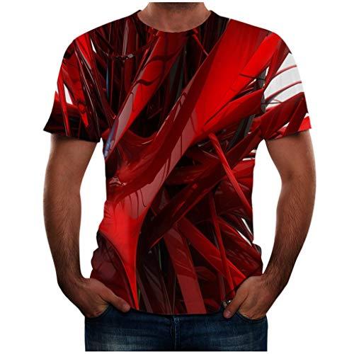 Yowablo T Shirts MäNner Herren T Shirt Bluse Top Männer Sommer 3D-Bedruckte Kurzarm-Modekomfort (L,4Rot)