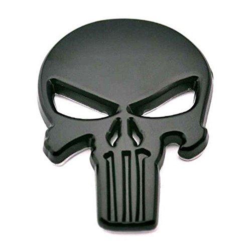 ZHUOTOP New 3D Metal Emblem Badge Decal Sticker Punisher Skull Car Motorcycle Waterproof Black