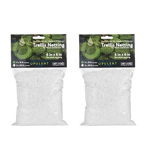 OPULENT SYSTEMS HeavyDuty 2pack Polyester Plant Trellis Netting 5 x 30 ft Flexible String Net Trellis with Natural Jute Twin