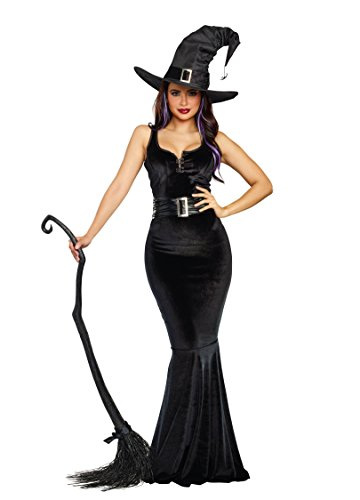 Dreamgirl Women's Bewitching Beauty Velvet Witch Costume Gown, black, Medium