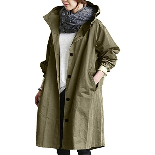 OutTop Trench Coats for Women Trendy Breasted Button Down Hooded Oversized Long Windbreaker Jacket Raincoat Outwear (Army Green, XL)