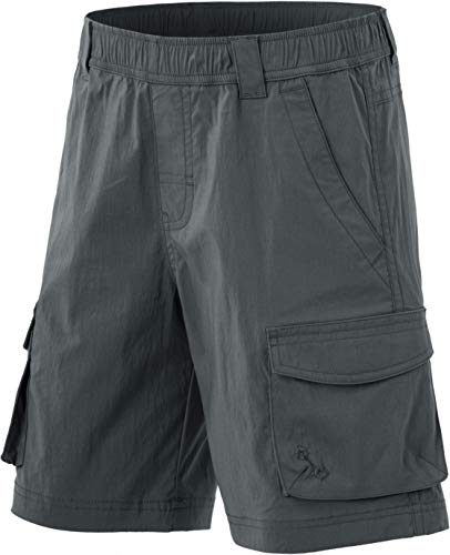 CQR Kids Youth Pull on Cargo Shorts, Outdoor Camping Hiking Shorts, Lightweight Elastic Waist Athletic Short with Pockets, Driflex Shorts(bxs416) - Charcoal, 10-12 Medium