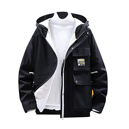 Plot Herren Jacke mit Kapuze Übergangsjacke Kapuzenjacke Männer Freizeit Outdoor Sportjacke Sweatjacke Outwear Mantel Für Frühling Winter