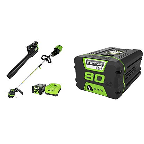 Review Greenworks PRO 80V Cordless Brushless String Trimmer + Leaf Blower Combo, 2Ah Battery and Cha...