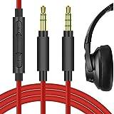 Geekria QuickFit Cable de audio de repuesto para auriculares Anker Soundcore Life Q20, Q10, Life 2 Active, Vortex, BIuedio T3, T2s, cable de 3,5 mm con micrófono y control de volumen (rojo 5,6 pies)