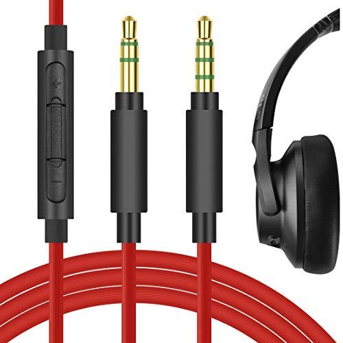 Geekria QuickFit Cable de audio de repuesto para auriculares Anker Soundcore Life Q20, Q10, Life 2 Active, Vortex, BIuedio T3, T2s, cable de 3,5 mm con micrófono y control de volumen (rojo 5,6