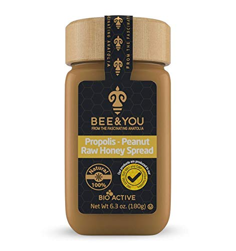 BEE & YOU Propolis, Peanut, Honey Spread - 100% Natural and Free of Chemicals,Colors, GMO's, Gluten and Soy-Natural Immune Support