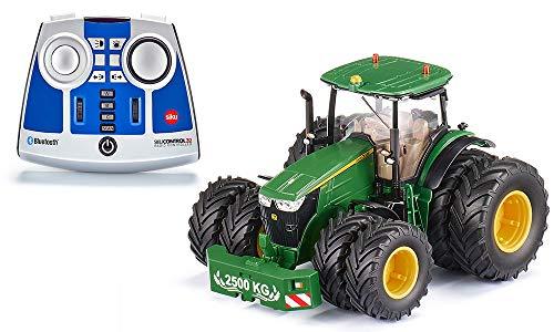 siku 6736, John Deere 7290R Traktor, Inkl. Fernsteuermodul, grün, Metall/Kunststoff, 1:32, Ferngesteuert, Steuerung mit App via Bluetooth, Abnehmbare Doppelreifen