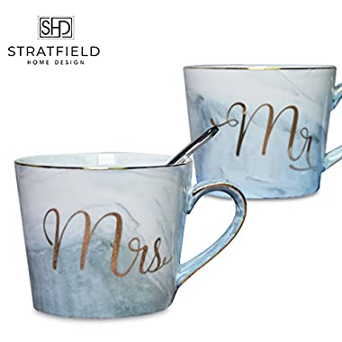 Mr and Mrs Coffee Mug Set - Ceramic Gold Marble Premium Pack of 2 - Perfect gift for engagements, weddings, couples! - STRATFIELD HOME DESIGN