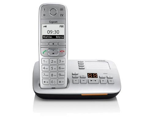Gigaset E500A Dect-Großtasten-Schnurlostelefon mit Anrufbeantworter, SOS Notruffunktion, titanium