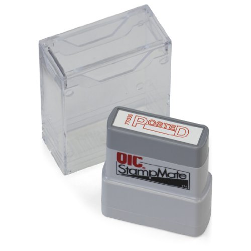 """OfficemateOIC Office Pre-Inked Message Stamp, """"Posted with Date"""", Red, Refillable (77030)"""