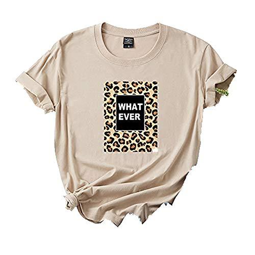 Camiseta de manga corta de algodón de verano con estampado de leopardo y blusa para mujer de talla grande con estilo informal y holgado. G XL
