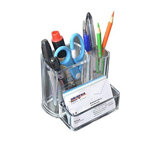 デスクオーガナイザー ペン立て ペンスタンド 文具ケース 卓上収納 クリア おしゃれ 高級感 小物入れ 多機能 プラスチック製 (A)