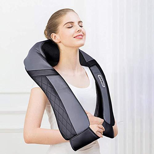 Masajeador para hombros, espalda, cuello Shiatsu, con función de calor, masajeador cervical, cojín de masaje eléctrico, 16 cabezales de masaje, regalo para mujeres, hombres, oficina,coche y hogar