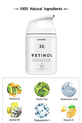 41O41fcoQvL - UMRAN Premium Retinol Cream, Anti-Aging Moisturizer Cream 2.5% for Face and Eye Care, Anti-Wrinkle Essence with Hyaluronic Acid, Day and Night Cream, Vitamin E and Green Tea, 50ml, 1.7 Fl.Oz