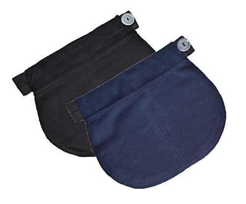 Mija - Juego de 2: Maternidad Embarazo banda de cintura AJUSTABLE extensor elástico de cintura 1029 (Negro + Armada)